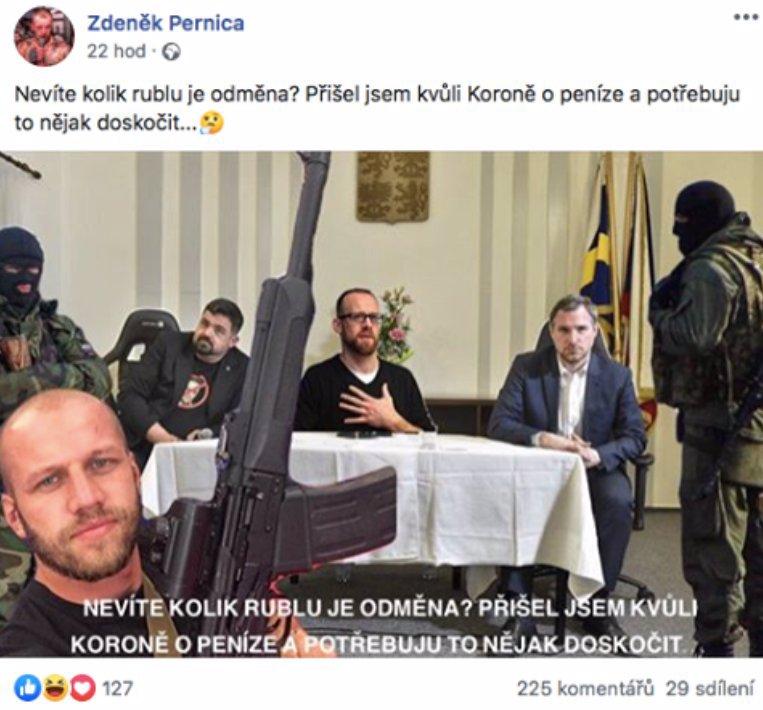 Nechutná provokace šéfa hnutí Slušní lidé: Zdeněk Pernica vyhrožuje Hřibovi a Kolářovi likvidací