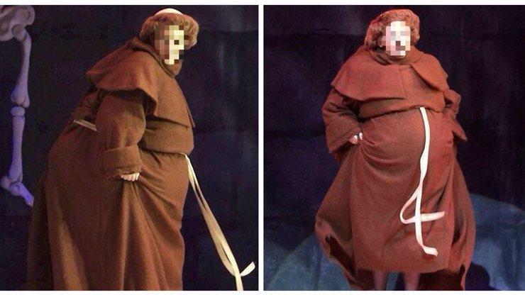 Uhodnete, kdo se pod tímhle převlekem tlustého mnicha skrývá? Je to jeden z největších sexsymbolů pop music!