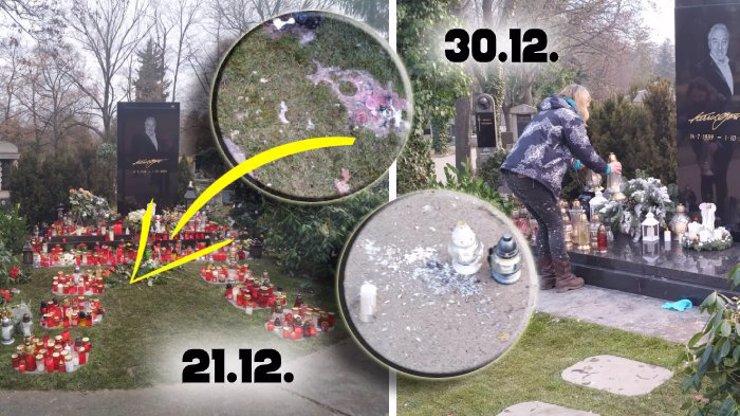 Vandalismus na Gottově hrobě: Zdevastovaný trávník, záplava svíček a střepy