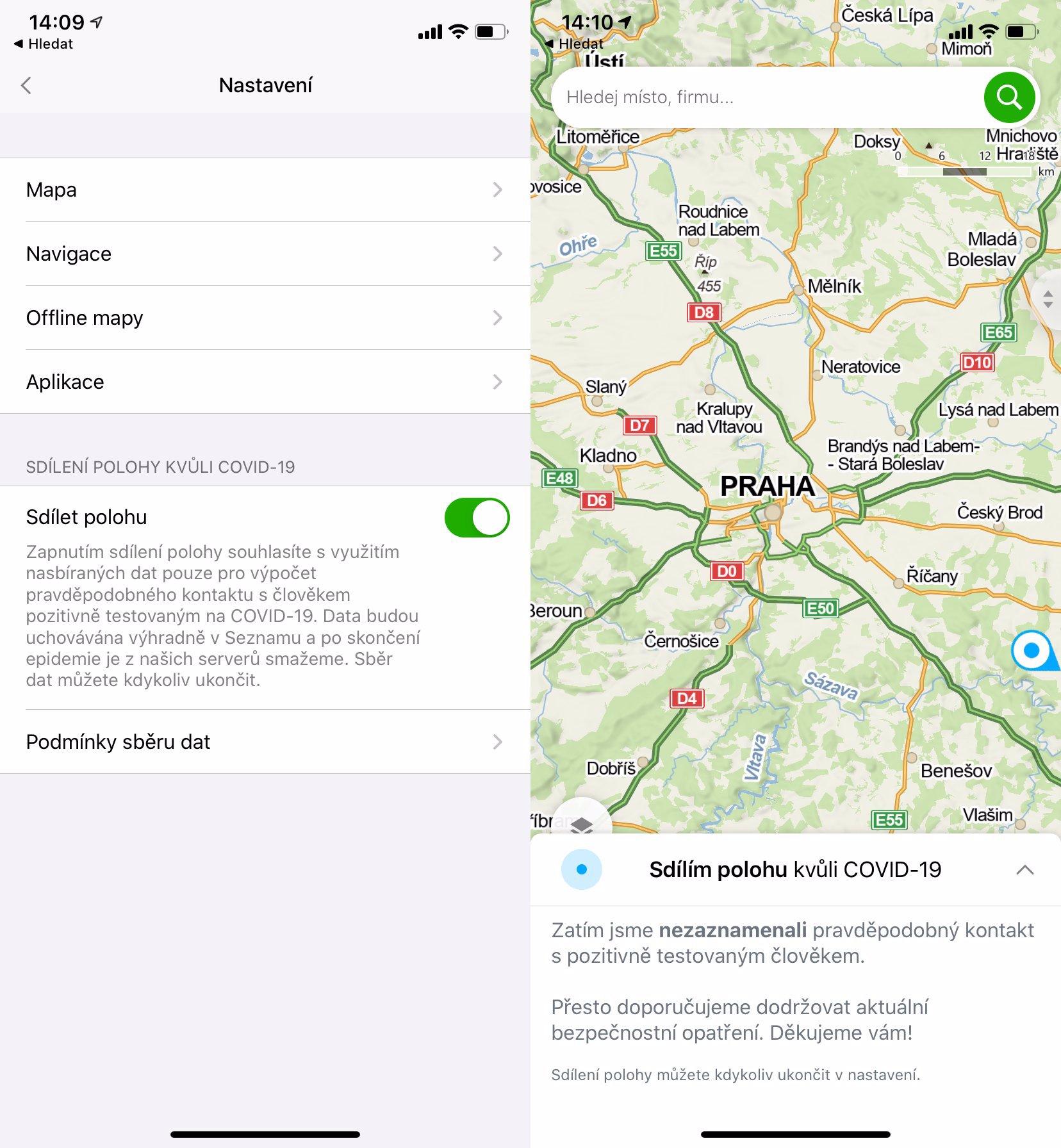 Mapy.cz řeknou, že jste potkali nakaženého koronavirem: Přehledný návod k nastavení