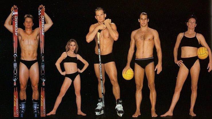Velké srovnání těl na 12 fotografiích: Slavní sportovci šli do prádla, jsou mezi nimi i hokejisté Eliáš a Hašek