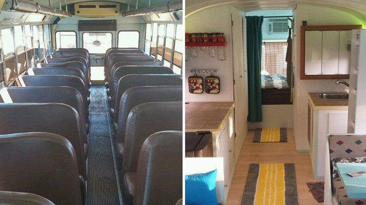 Ze starého školního autobusu má parádní dům! Jak to dokázal?