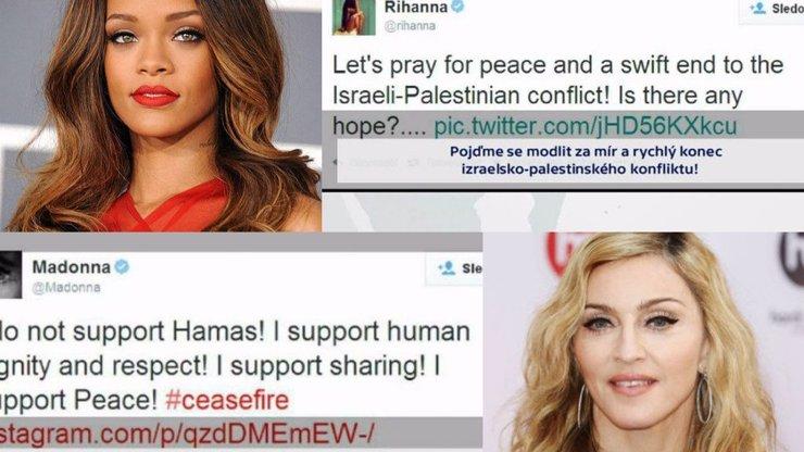 Celebrity se na Twitteru vyjadřují k izraelsko-palestinskému konfliktu. Madonna a Rihana by šly proti sobě!