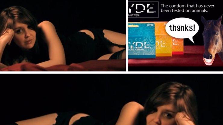 """Chtěli byste mě """"ojet"""" něčím, co měl v sobě kůň? Tahle reklama na veganské kondomy vás dostane!"""