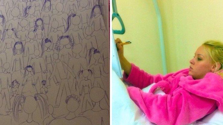 Pornoherečka, která před znásilněním skočila z balkónu, kreslí v nemocnici divné obrázky. Zbláznila se?