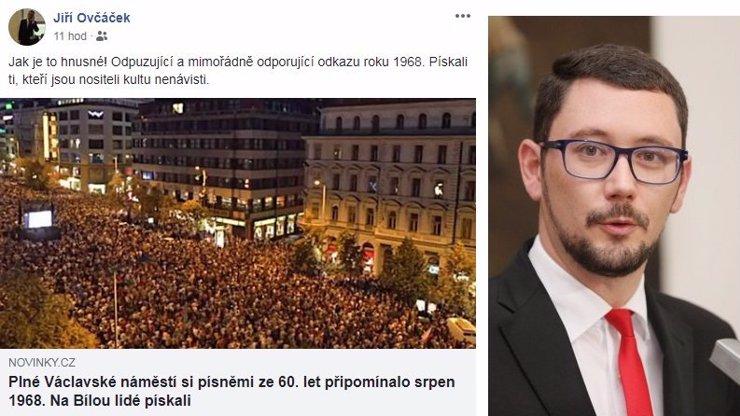 Je to hnusné! Jiří Ovčáček zaútočil na lidi, kteří se sešli na Václaváku a pískali