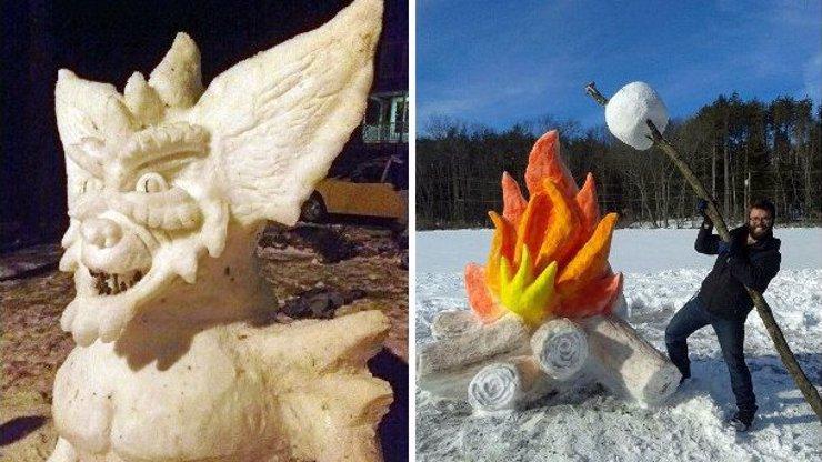 Američan staví úžasné a složité sochy ze sněhu! Myslíte, že byste dokázali totéž?