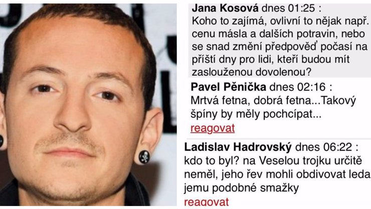 Někteří Češi se projevili jako hyeny bez špetky citu: Takhle nechutně se pouštěli do zesnulého zpěváka Linkin Park