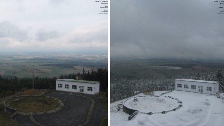 České hory přes noc zasypal sníh, stejně jako při vzniku republiky před 100 lety