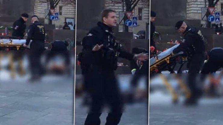 VIDEO s hořícím mužem (54) z Václaváku: Polil se benzínem, takhle ho zachraňovali!
