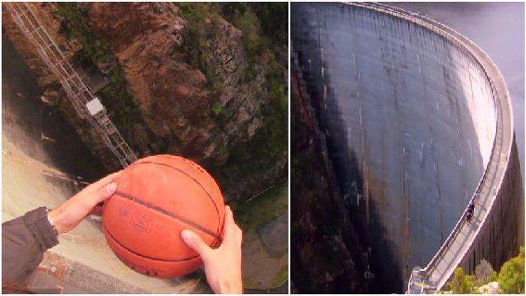 Vědu prostě musíte milovat! Co udělá basketbalový míč, když ho pustíte dolů z přehrady? Nespadne!