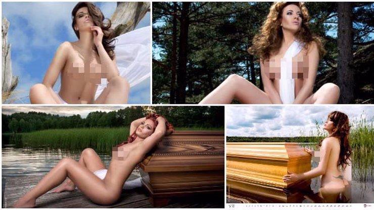 Polský výrobce rakví udělal speciální katalog, kde mu pózují na rakvích nahé modelky!