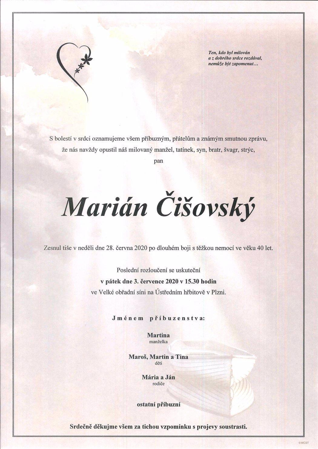 Poslední rozloučení s Mariánem Čišovským (†40): Kromě rodiny a přátel mohou dorazit všichni viktoriáni
