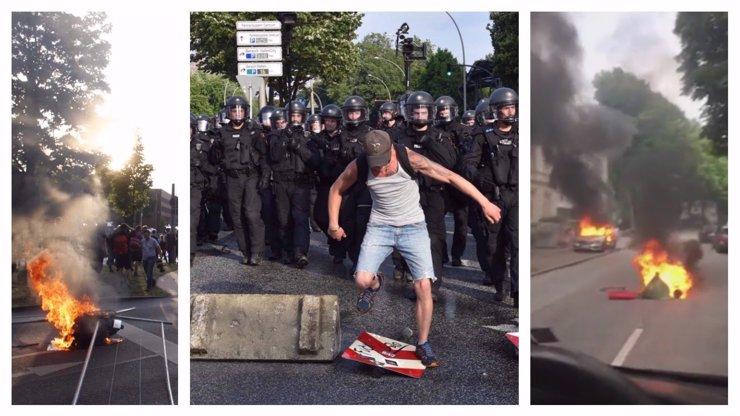Hamburk hoří a zmítá se v šíleném chaosu: Demonstranti házejí kameny, napadají policii a zapalují auta!