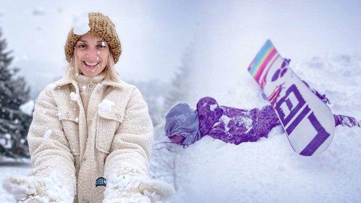 Zimní radovánky Barbory Polákové: Volný čas věnuje zpěvačka jízdě na snowboardu