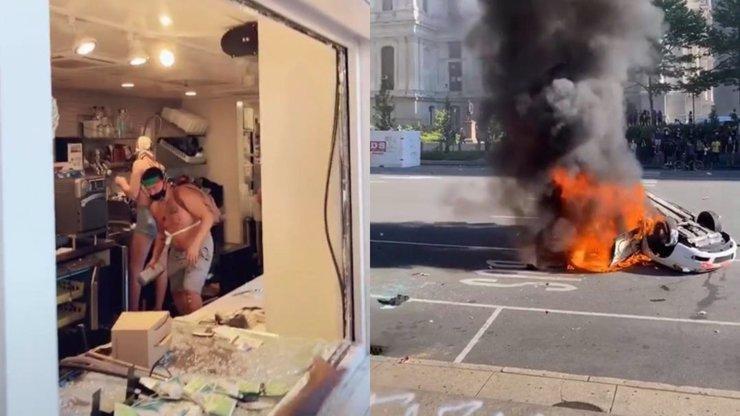 Peklo na zemi: Auta v plamenech a rabování, Američané vzali útokem i Starbucks