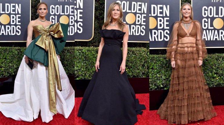Móda na Zlatých glóbech 2020: Obří mašle Lopez, úchvatná Aniston a halucinace Paltrow