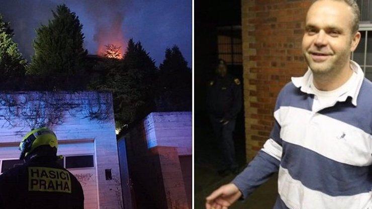 Sídlo Radovana Krejčíře v Černošicích za 400 milionů skončilo v plamenech