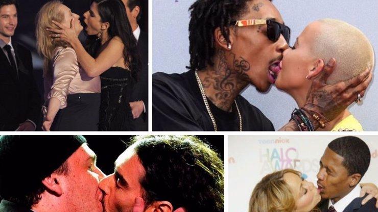 5 odpudivých polibků celebrit: Incest Angeliny Jolie a francouzák Sandry Bullock