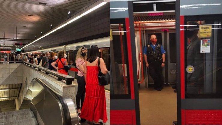 Zmatky v metru kolem roušek a podivná buzerace: Strážníci vyhodili ženu s šátkem z podzemky
