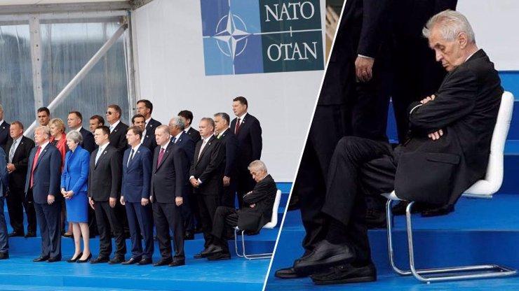 Klimbajícímu Zemanovi museli na summitu NATO přišoupnout židličku! Pak ho z fotky usekli