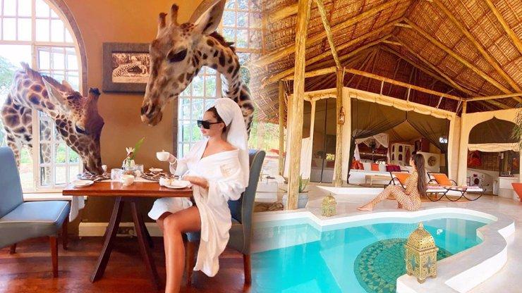 Zuzana Plačková si užívá luxusu v Keni: Přepychový kemp a žirafy jí zobou z talíře