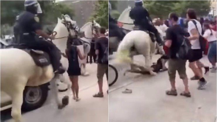 Další zbytečné zranění na protestech v USA: Policista v Houstonu srazil ženu koněm