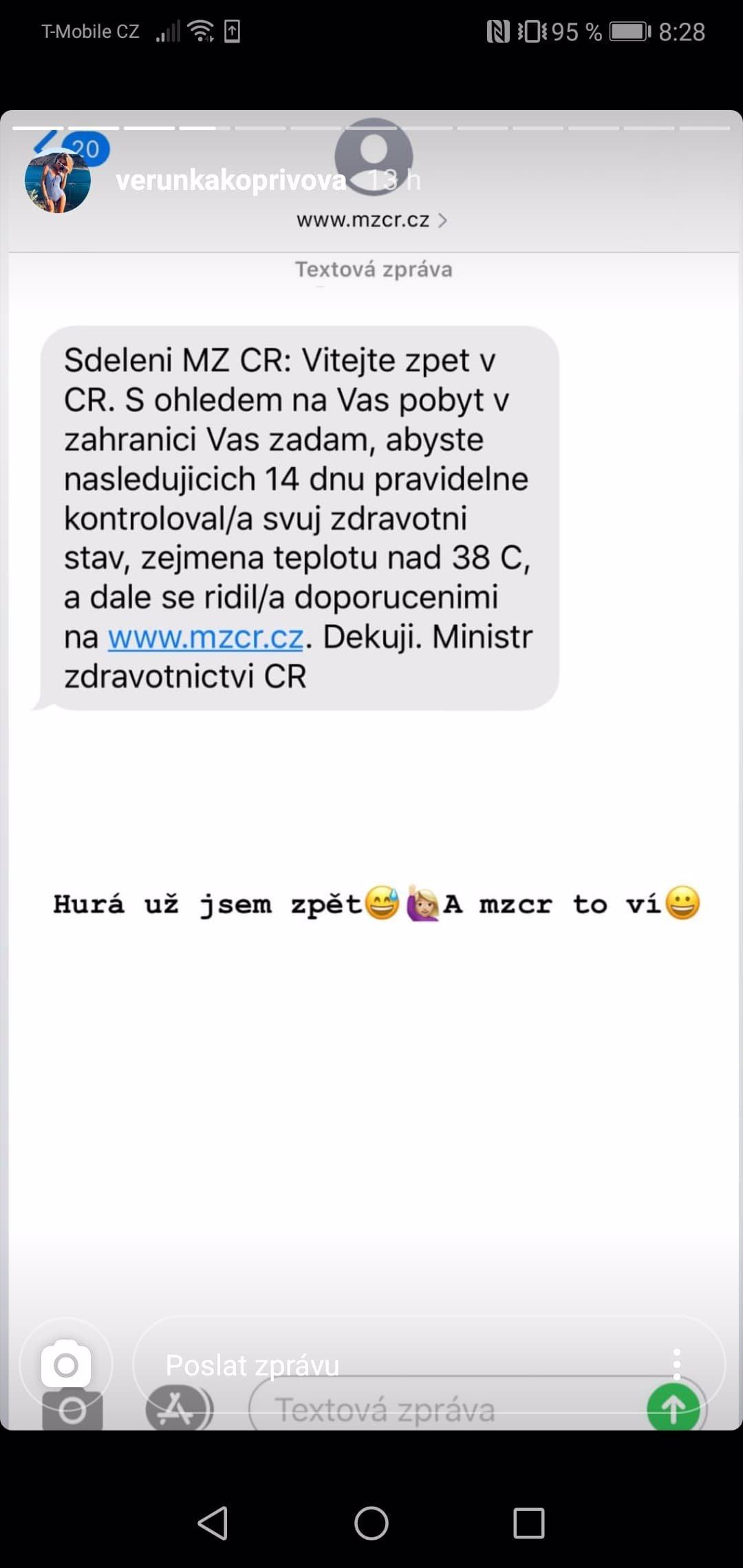 Kopřivová už je po příjezdu ze zahraničí v obraze: Takhle zareagovala na SMS z ministerstva