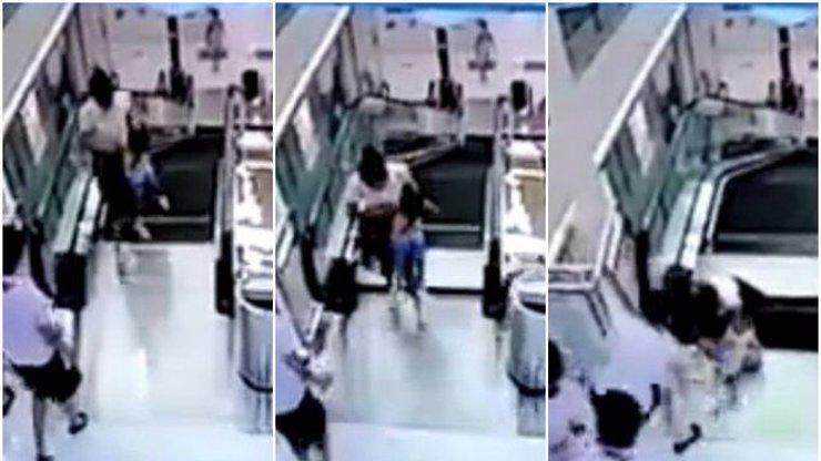 Kamery zachytily obrovské neštěstí: Eskalátory vtáhly ženu před očima jejího synka!