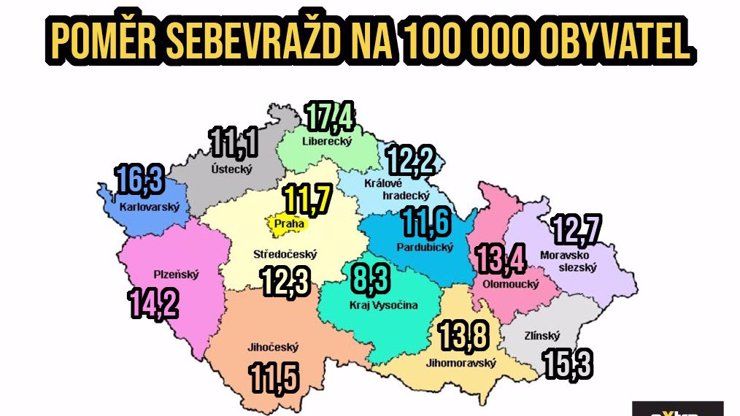 Kde už lidi nebaví žít  a raději volí dobrovolnou smrt? Velká mapa sebevražd v Česku