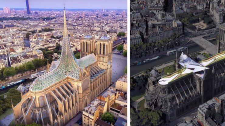 Plastová střecha nebo skleník: Podívejte se na návrhy na opravu katedrály Notre-Dame