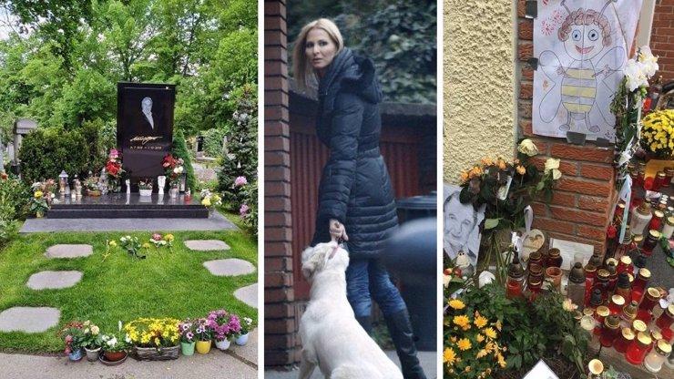 Karel Gott má na hrobě jarní výzdobu: Ivana a fanoušci se postarali o květiny a svíčky