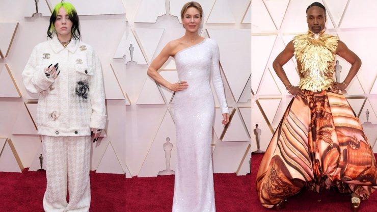 Móda na cenách Oscar 2020: Billie Eilish v pyžamu, krásná Renée Zellweger a zlatý poděs