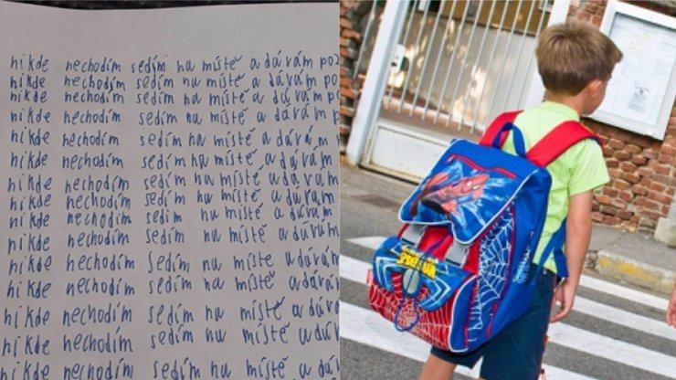 Žák 4. třídy musel napsat padesátkrát: Sedím na místě a dávám pozor! Rodiče zuří