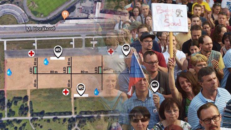 MAPA nedělní demonstrace proti Babišovi: Kde se osvěžit, kudy přijít a kam s dětmi?