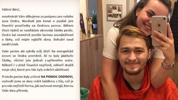 Rodina Ondřeje Buchtely vrací peníze pro boj s rakovinou: Dejte je Aničce, žádají dárci