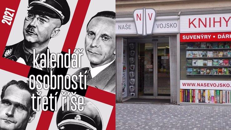 Policie vyrazila do prodejny Naše vojsko: Důvodem byly kalendáře s představiteli nacistů