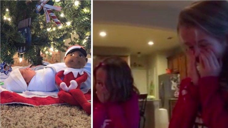 Nejhezčí vánoční dárek! Podívejte se na reakci tří sester, které pod stromečkem našly bratříčka