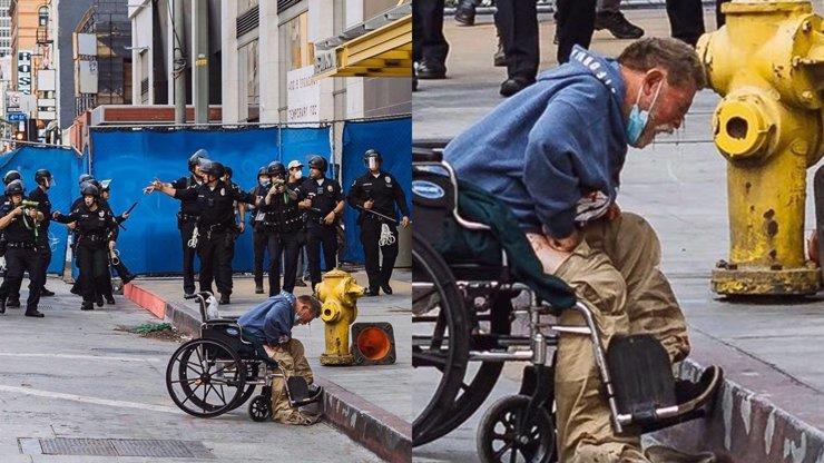 Nevinná oběť protestů v USA: Policisté střelili vozíčkáře do obličeje, křičel bolestí