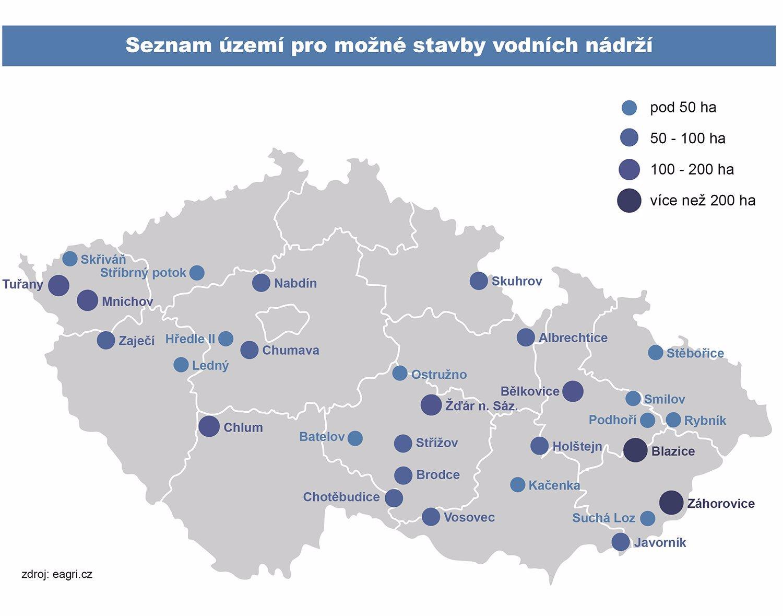 V Česku vyroste přes 30 nových vodních nádrží: Na vyznačených územích bude jen voda