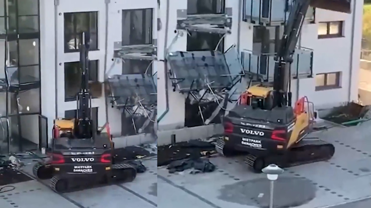 VIDEO: Bagristovi nezaplatili za práci, zdemoloval stavbu, kterou právě dokončil