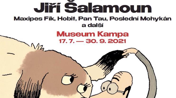 Výstava má název 'Jiří Šalamoun: Maxipes Fík, Hobit, Pan Tau, Poslední Mohykán a další'.